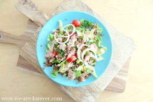 Rezept Burger Salat mit veganem Hack vegetarisch