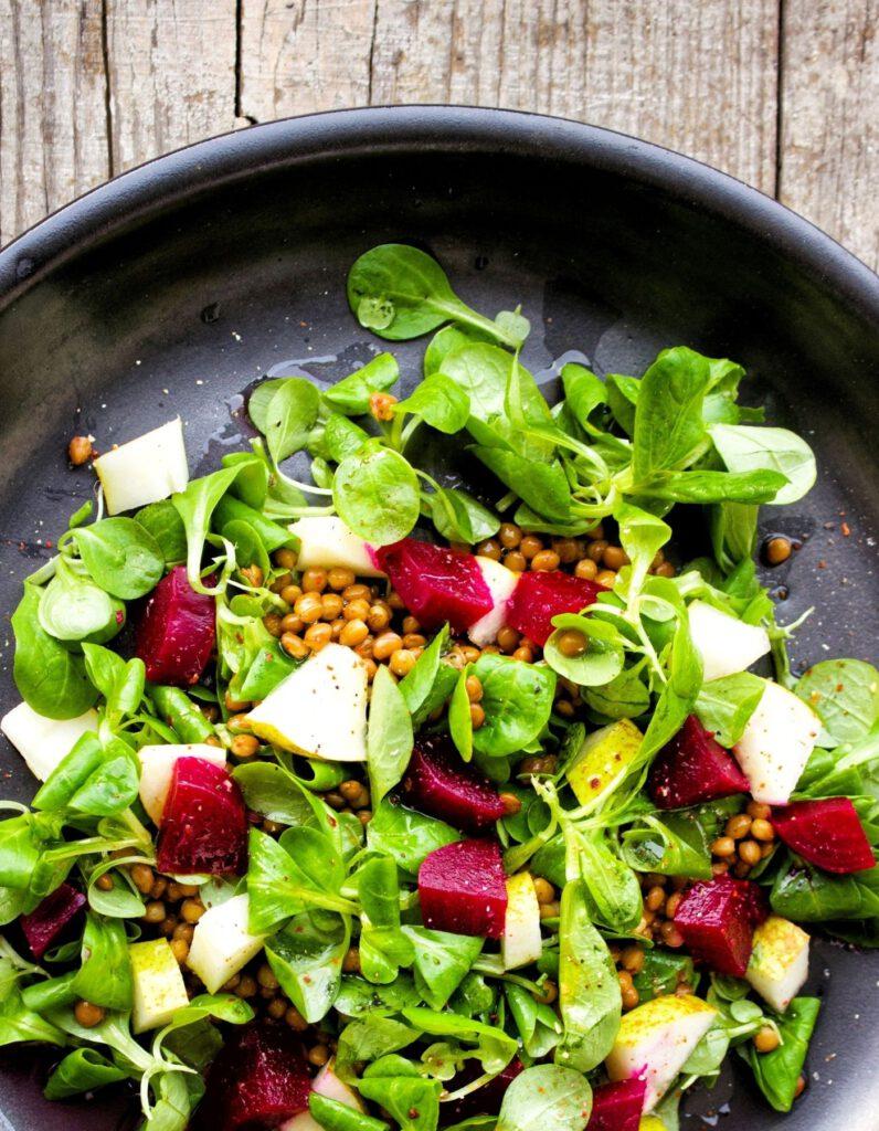 rote linsen salat mit birne